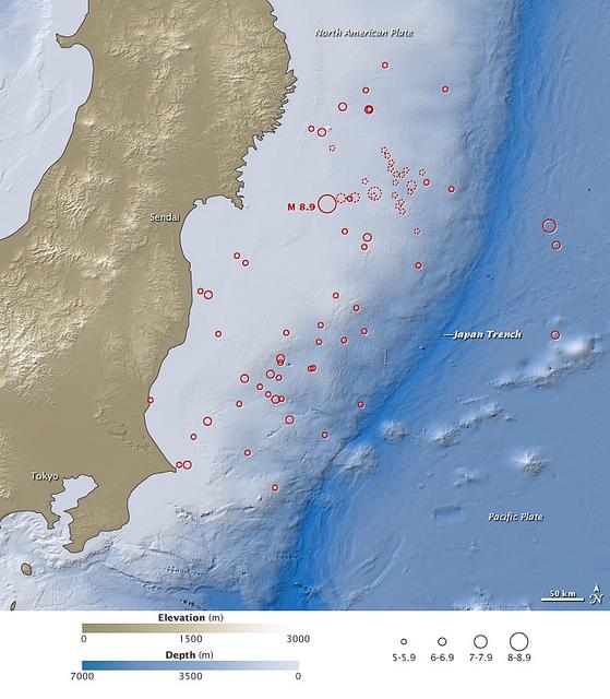 La mappa del terremoto di Sendai dell'11 marzo.