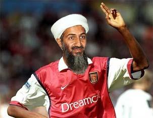 """bin Laden indossa la maglia del """"suo"""" Arsenal in un fotomontaggio."""